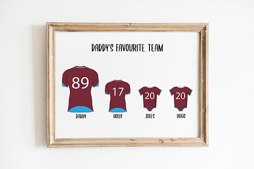 Personalised Team A4 Print