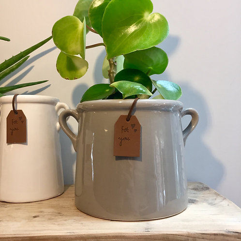 Grey Planter with Ear Handles