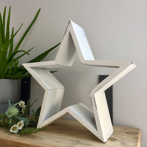 White Rustic Standing Star