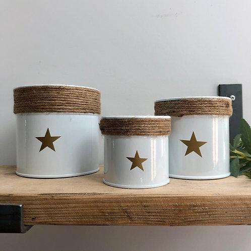 Set of 3 Metal Jute Pots