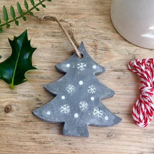 Concrete Tree & Snowflake Decoration