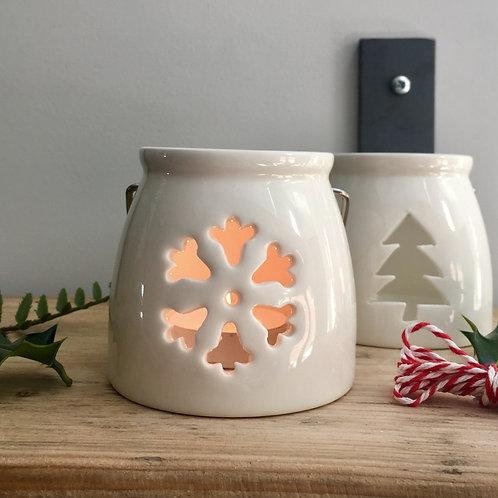 Ceramic Snowflake Tealight Holder