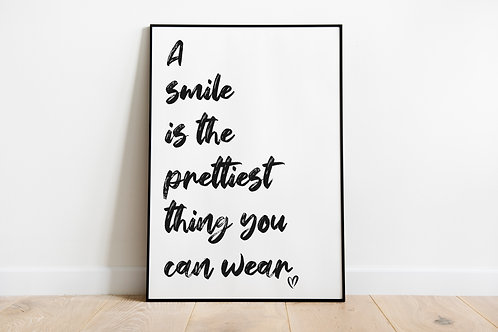 A smile is the prettiest A4 Print