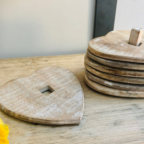 Set of 6 Wooden Heart Coasters // Sass & Belle