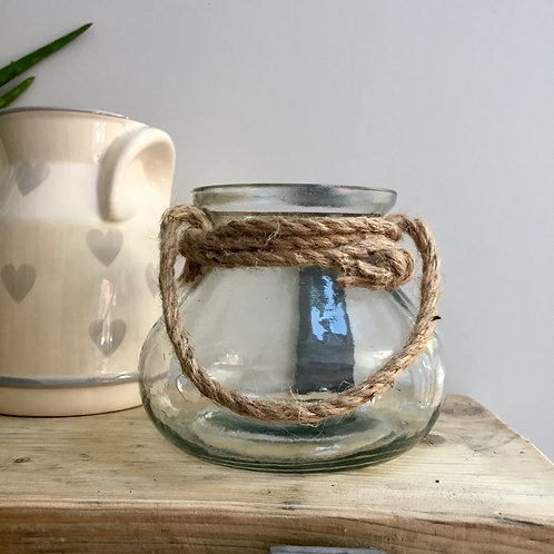 Glass Vase with Rope Handle
