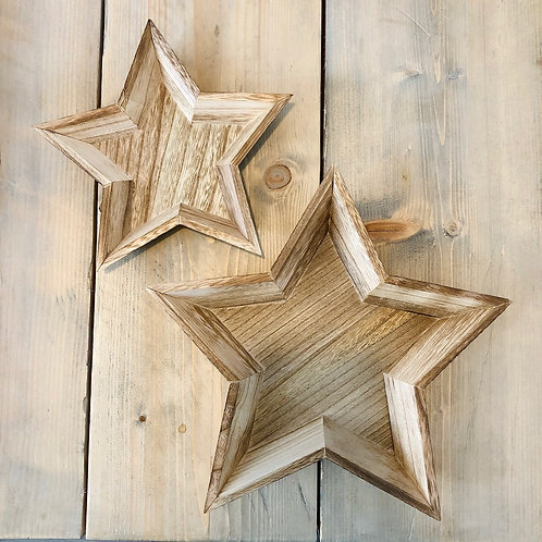 Set of Two Wooden Star Trays