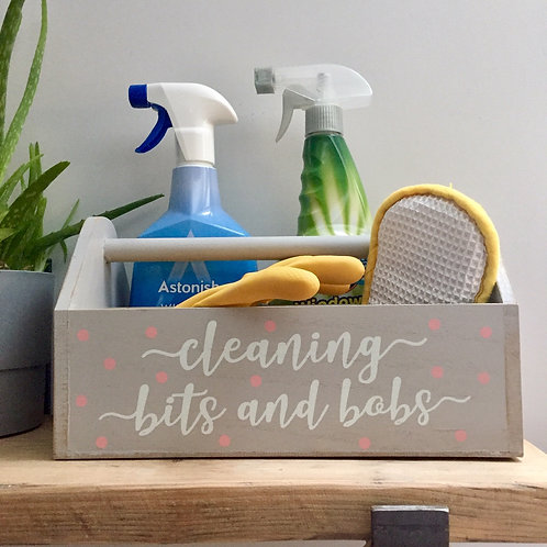 Grey Wooden Cleaning Caddy