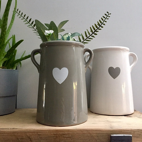 Large Grey Ear Handle Vase with Heart