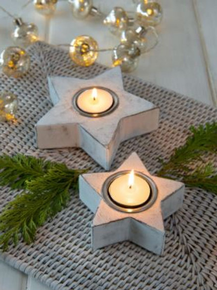 Pair of White Wood Star Tealight Holders