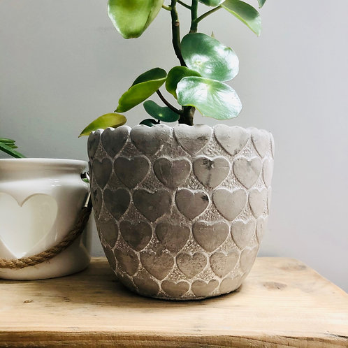 Whitewashed Plant Pot with Heart Design
