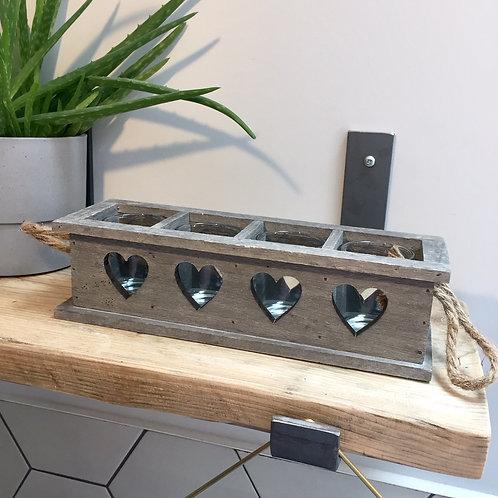 Wooden Four Heart Tealight Holder