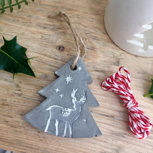 Concrete Tree & Reindeer Decoration