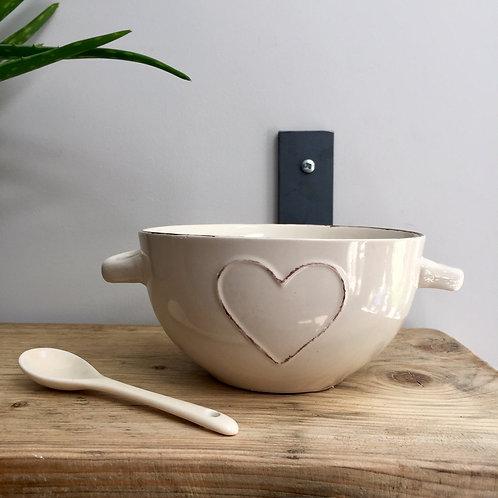 Cream Heart Bowl & Spoon