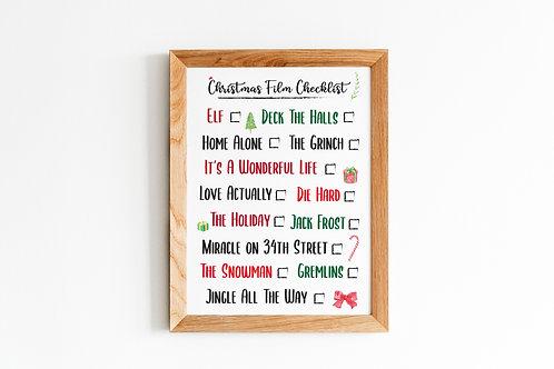 Christmas Film Checklist A4 Print