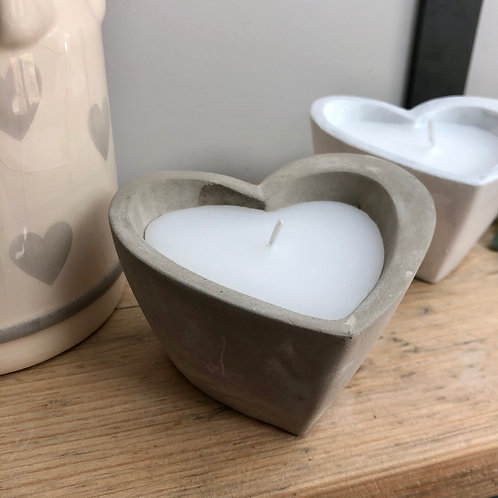 Heart Candle in Grey Concrete Pot
