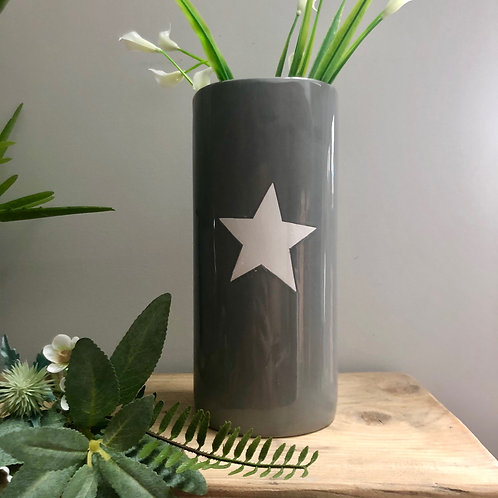 Grey Ceramic Vase with Star