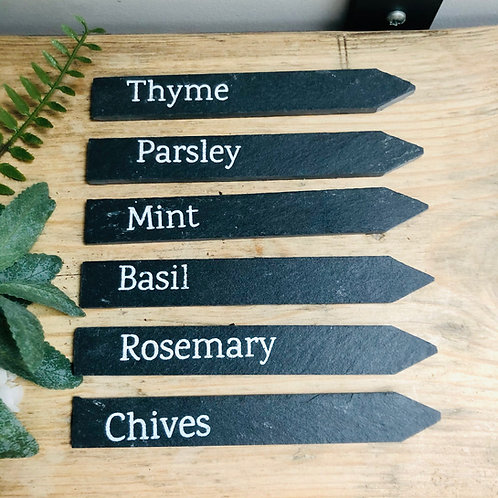 Set 6 of Slate Herb Markers