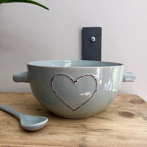 Blue Heart Bowl & Spoon