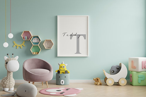 Personalised Monochrome Initial A4 Print