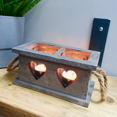 Wooden Two Heart Tealight Holder