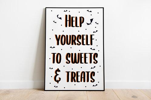 Trick Or Treat Halloween A4 Print