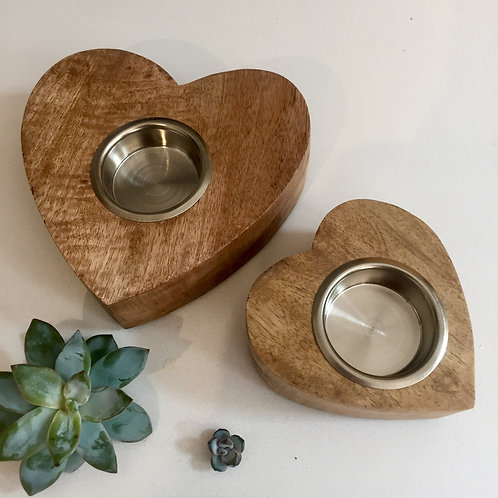 Pair of Natural Wood Heart Tealight holder