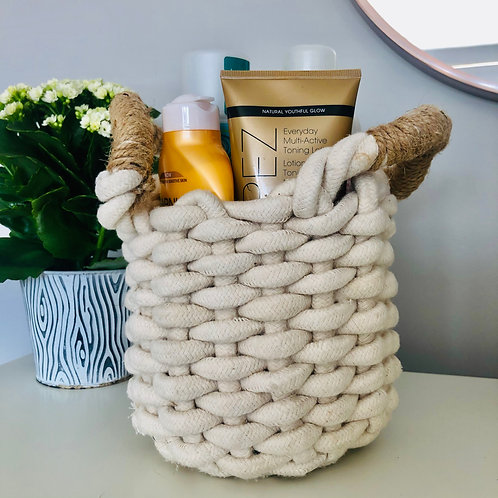 White Knit Storage Basket
