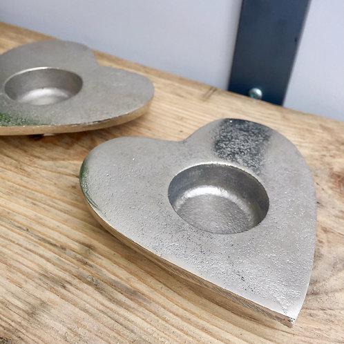 Distressed Metal Heart Tealight Holder