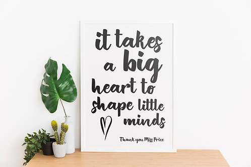Personalised Big Heart Teacher A4 Print