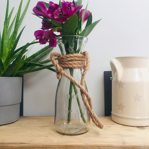 Tall Glass Vase with Rope Handle
