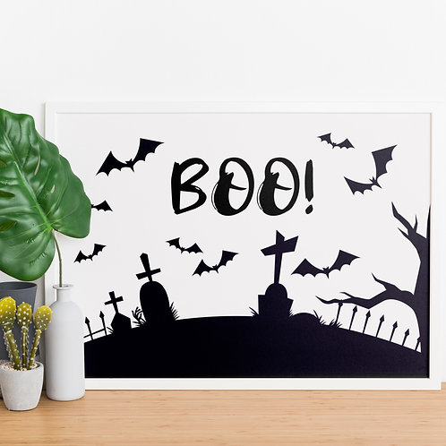 BOO Graveyard Halloween A4 Print