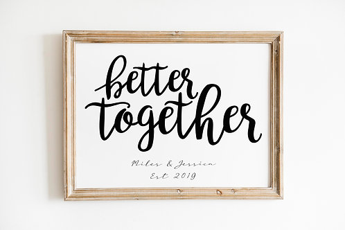 Better Together Personalised A4 Print