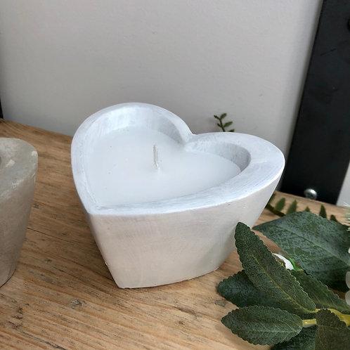 Heart Candle in White Concrete Pot