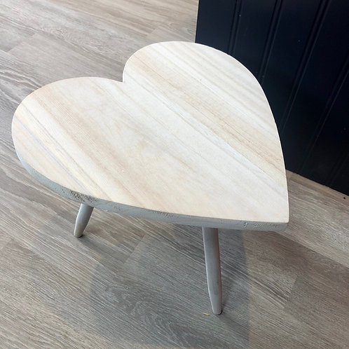 Large Whitewashed Wooden Heart Table