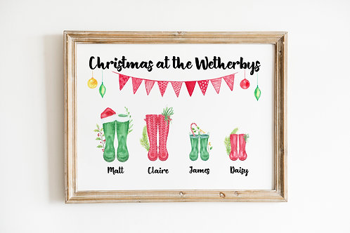 Family Christmas Welly A4 Print