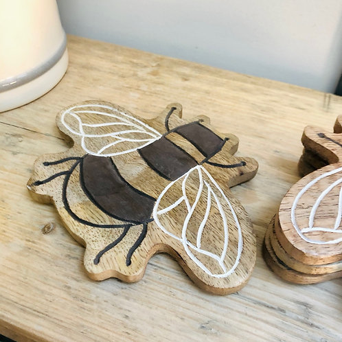 Set of 4 Wooden Bee Coasters // Sass & Belle