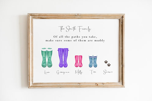 Muddy Path Family Welly A4 Print
