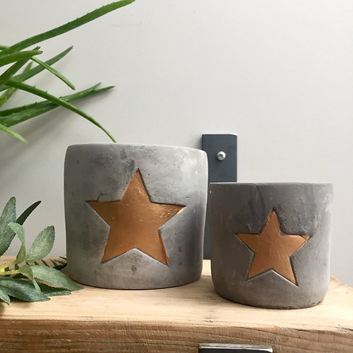 Pair of Concrete Star Planters