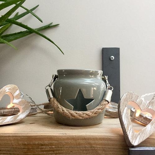 Mini Grey Ceramic Star Lantern
