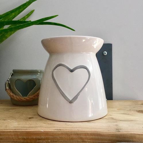 IMPERFECTION White Ceramic Heart Oil/Wax Burner