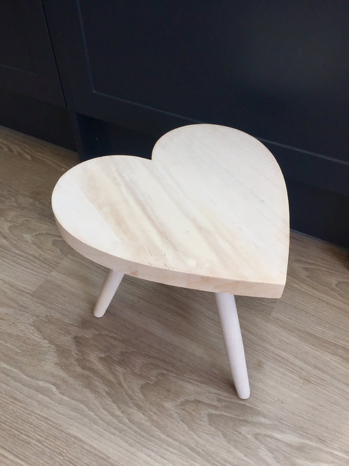 Small Whitewashed Wooden Heart Table