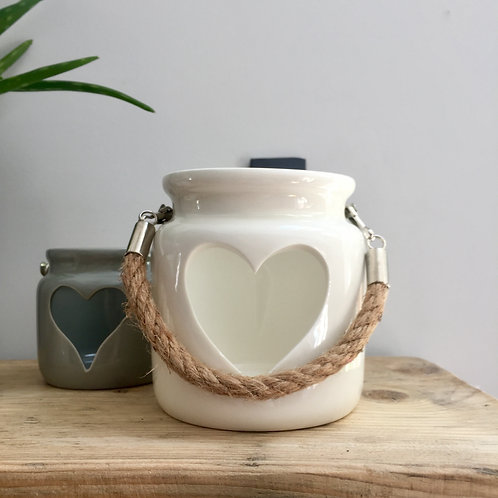 IMPERFECTION White Ceramic Heart Lantern