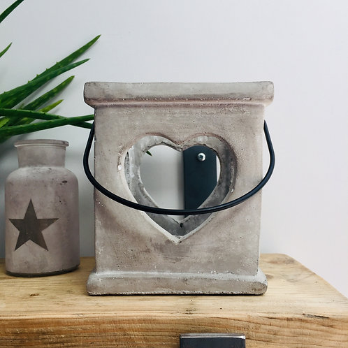 Square Concrete Heart Lantern