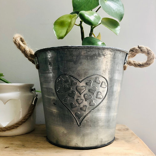 Embossed Heart Zinc Bucket