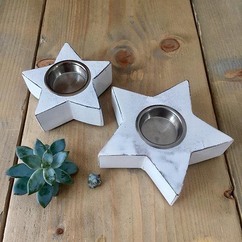 Pair of White Wood Star Tealight Holders