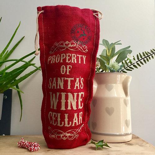Red Jute Wine Bag - Santa Wine Cellar