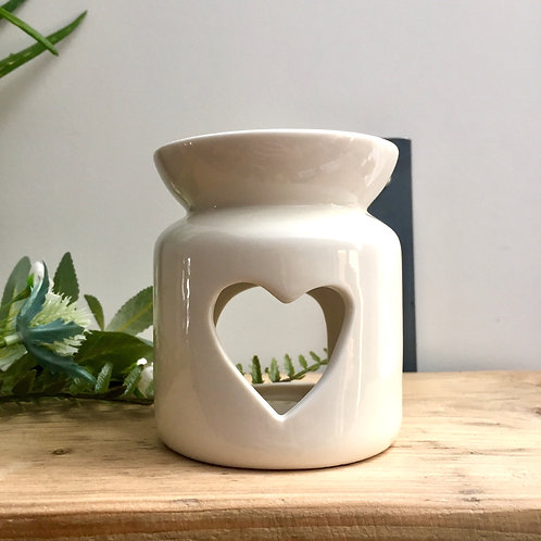 Small White Heart Oil/Wax Burner