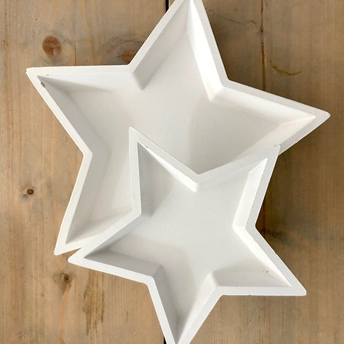 IMPERFECTION Two White Wooden Star Trays