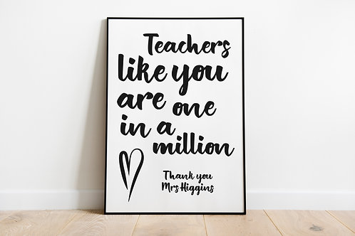 Personalised Thank you Teacher A4 Print