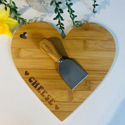 Heart Bamboo Cheese board & Knife // Sass & Belle